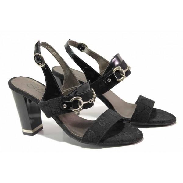Български дамски сандали на висок ток, естествен лак в съчетание с ефектен текстилен материал / Ани 1541 черен / MES.BG
