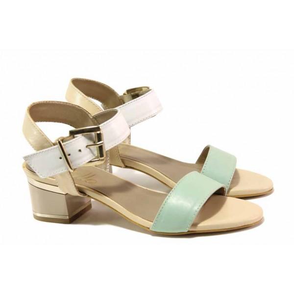 Анатомични дамски сандали, естествена кожа, среден ток, катарама / Ани 1825 зелен-бял / MES.BG