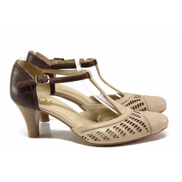 Дамски обувки от естествена кожа, среден ток, перфорация, катарама / Ани 51601 бежов / MES.BG