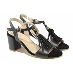 Стилни дамски сандали с облечен ток, декорация-пискюли, естествена кожа / Ани 62731 черен / MES.BG