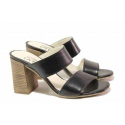 Български дамски чехли от естествена кожа, анатомични, висок и стабилен ток / Ани 2678 черен / MES.BG