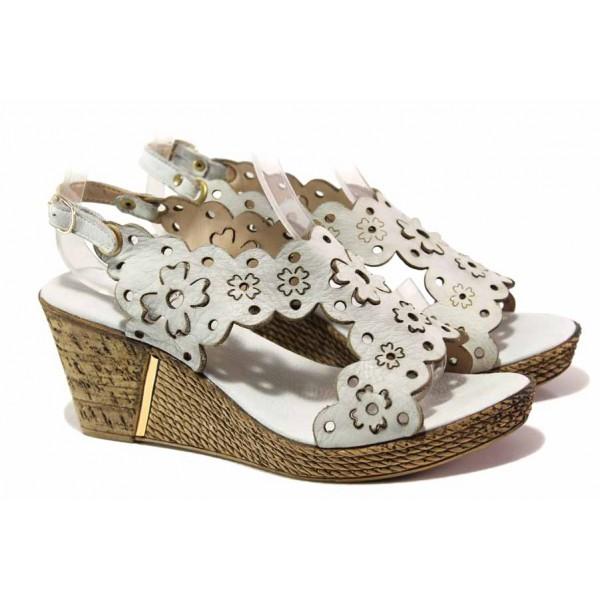 Дамски сандали на платформа, естествена кожа, красива перфорация / Ани 1568 сив / MES.BG