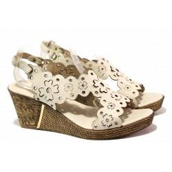 Дамски сандали с красива перфорация, естествена кожа, анатомични, платформа / Ани 1568 бежов / MES.BG