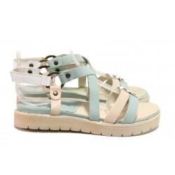 Дамски сандали с асиметрични ленти, естествена кожа, велкро закопчаване / Ани 52201 зелен / MES.BG