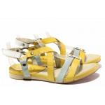 Дамски сандали на равно ходило, естествена кожа, велкро закопчаване / Ани 52201 жълт / MES.BG