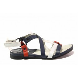Анатомични дамски сандали, равно ходило, естествена кожа, велкро лепеники / Ани 52201 бял-син / MES.BG