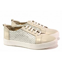 Комфортни спортни обувки, естествена кожа, връзки, анатомични / Ани 2596 злато / MES.BG