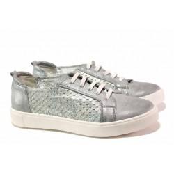 Анатомични спортни обувки в актуален дизайн, ефектно декорирана естествена кожа, връзки / Ани 2596 сребро / MES.BG