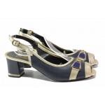 Анатомични дамски сандали, естествена кожа с нежна перфорация, среден ток, катарама / Ани 1831 син-златен / MES.BG