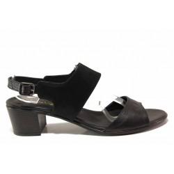 Български дамски сандали на среден ток, естествена кожа, плавна анатомична извивка на ходилото / Ани EDA-03 черен / MES.BG