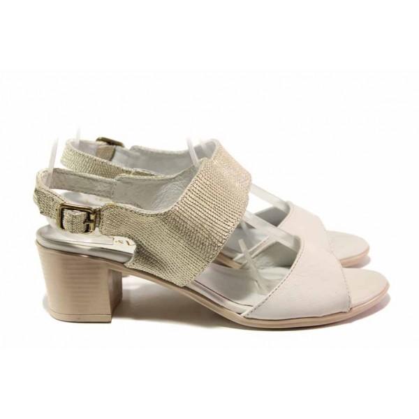 Български дамски сандали с интересен дизайн, естествена кожа, анатомични, среден ток / Ани EDA-03 бежов / MES.BG