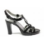 Стилен модел дамски сандали, интересно преплетени каишки, висок ток, естествена кожа-лак / Ани 42703 черен лак / MES.BG