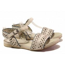 Анатомични дамски сандали, равно ходило, естествена кожа с перфорация / Ани 52209 бежов / MES.BG