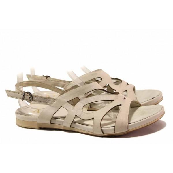 Анатомични дамски сандали, равно ходило, естествена кожа, катарама / Ани 52200 бежов / MES.BG