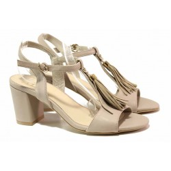 Стилни дамски сандали с пискюли, естествена кожа, облечен ток / Ани 62731 бежов / MES.BG
