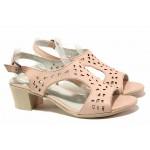 Анатомични дамски сандали, среден ток, естествена кожа, катарама / Ани EDA-01 розов / MES.BG