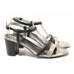 Стилни дамски сандали, висок ток, естествена кожа, катарама / Ани 6273 черен / MES.BG