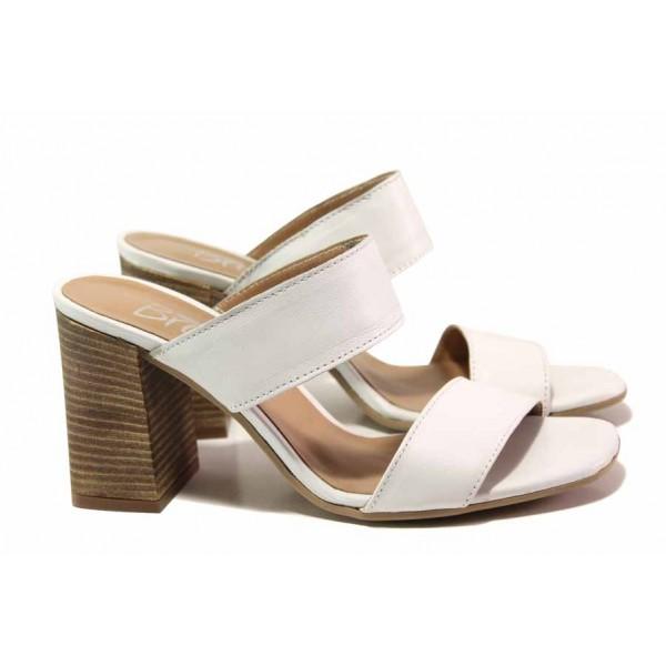 Български дамски чехли, анатомични, стабилен ток, естествена кожа / Ани 2678 бял / MES.BG