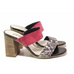 Анатомични български чехли, висок ток, естествена кожа със змийски ефект / Ани 2678 червен-змия / MES.BG