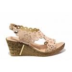 Български дамски сандали с красива перфорация, естествена кожа, плавна анатомична извивка на ходилото / Ани 1568 розов / MES.BG