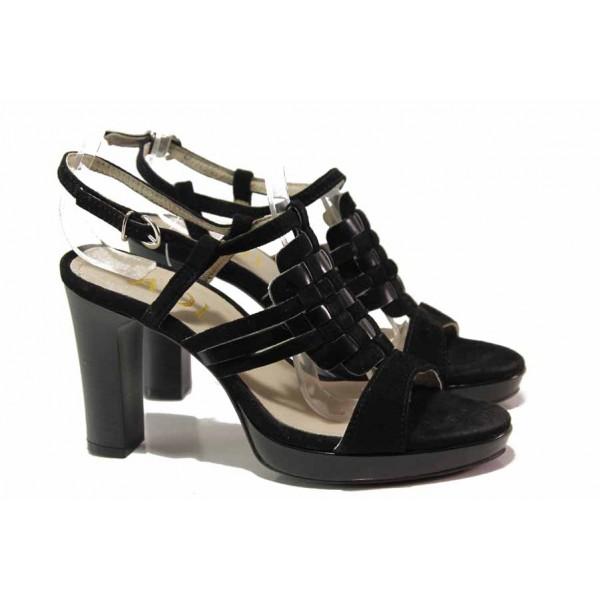 Стилен модел дамски сандали, стабилен висок ток, естествена кожа-лак и велур, катарама / Ани 42702 черен лак-велур / MES.BG