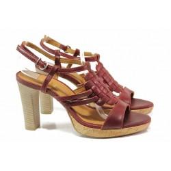 Дамски сандали на висок ток, естествена кожа, катарама / Ани 42702 бордо / MES.BG