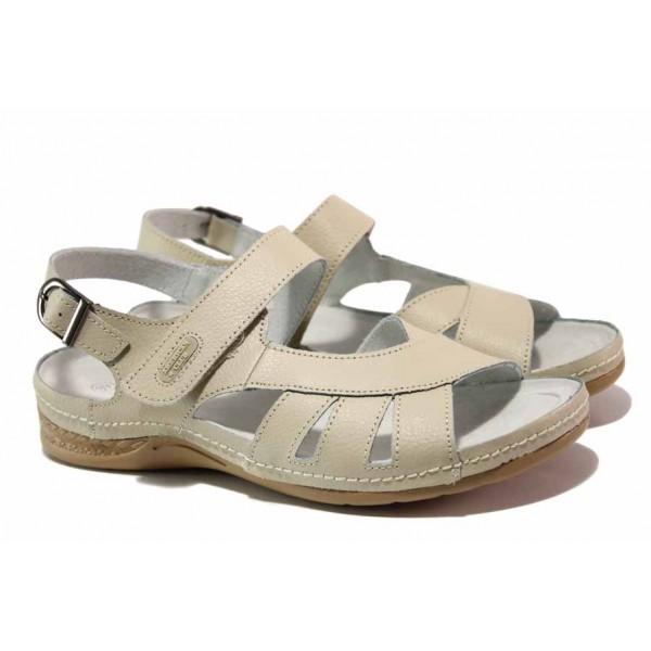 Равни анатомични сандали, велкро лепенки, естествена кожа / АБ RL14-20 бежов / MES.BG
