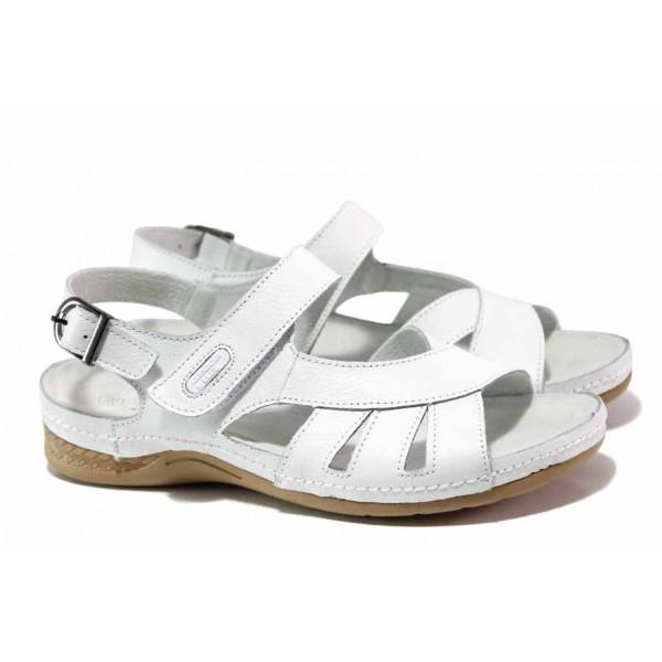 Анатомични дамски сандали, естествена кожа, закопчаване - велкро лепенки / АБ RL14-20 бял / MES.BG