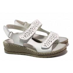 Анатомични дамски сандали на платформа, естествена кожа, велкро лепенки / АБ RL13-20 бял / MES.BG