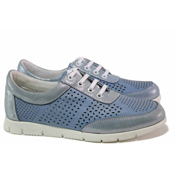 Спортни обувки, дамски, естествена кожа, перфорации, летни, анатомични / Ани Peery-01 светло син / MES.BG