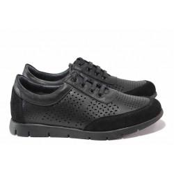 Летни български обувки, дамски, естествена кожа, спортни, анатомична стелка, връзки / Ани Peery-01 черен / MES.BG