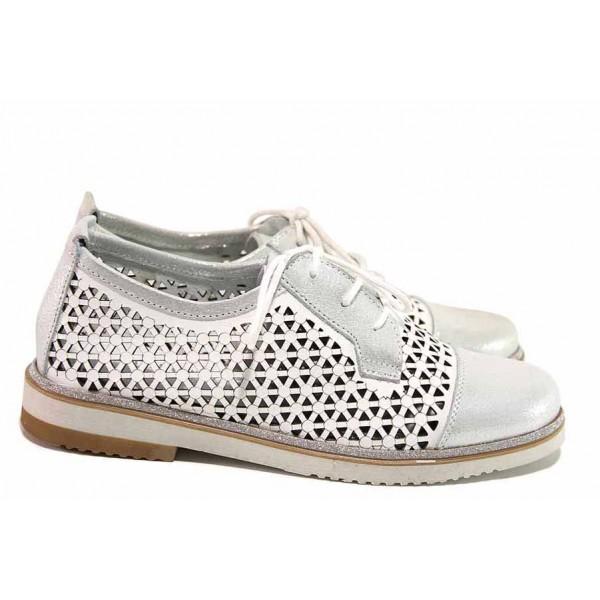 Дамски анатомични обувки, български, за лятото, от естествена кожа с перфорация, блестящ сатениран ефект / Ани ADRIANA-02A бял / MES.BG