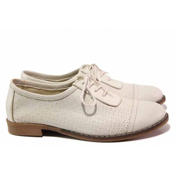 Ежедневни дамски обувки, български, естествена кожа - изцяло, анатомични, връзки / Ани TERRI-01 бежов / MES.BG