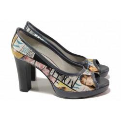 Стилни дамски обувки, естествена кожа с апликации, висок ток, платформа, отворени пръсти / Ани 41750 син вестник / MES.BG
