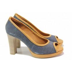 Елегантни обувки, дамски, висококачествен текстилен материал, висок ток, платформа, отворени пръсти / Ани 41750 дънки / MES.BG