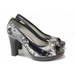 Елегантни дамски обувки, естествена кожа с апликации, отворени пръсти, платформа, висок ток / Ани 41750 черен вестник / MES.BG