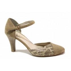 Стилни дамски обувки, среден ток, естествен велур, змийска кожа, катарама / Ани 41510 таупе / MES.BG