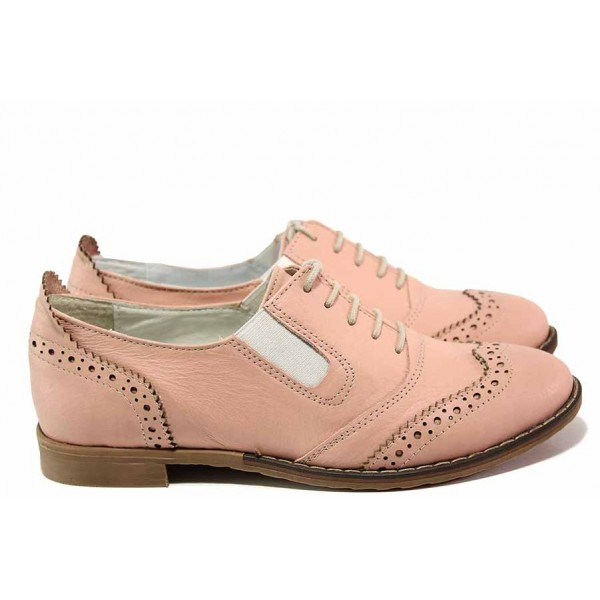Анатомични дамски обувки, равни, естествена кожа, български, свеж цвят / Ани AMBRO-01 пудра / MES.BG
