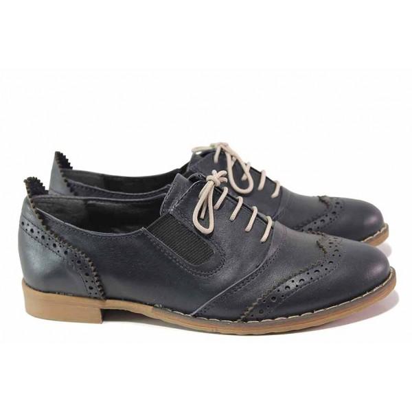 Анатомични български обувки, равни, естествена кожа, дамски, класически модел / Ани AMBRO-01 т.син / MES.BG