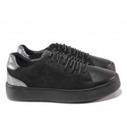Равни дамски обувки, естествена кожа, български, анатомични, връзки / Ани SARA-07 черен / MES.BG