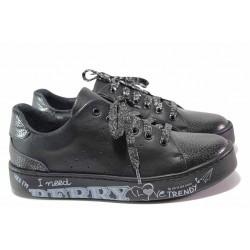 Анатомични обувки, дамски, естествена кожа с перфорации, български, връзки / Ани SARA-04 черен / MES.BG