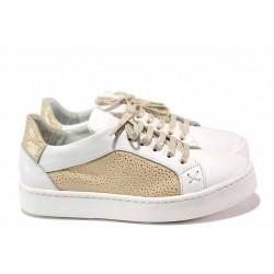 Анатомични обувки, дамски, естествена кожа, връзки, равни / Ани Sara-05 бял / MES.BG