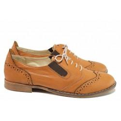 Равни дамски обувки, анатомични, български, естествена кожа, модел оксфорд, равни / Ани AMBRO-01 камел / MES.BG