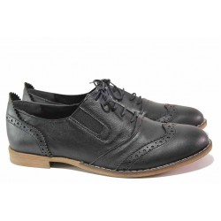 Равни български обувки, дамски, анатомични, естествена кожа, модел оксфорд / Ани AMBRO-01 черен / MES.BG