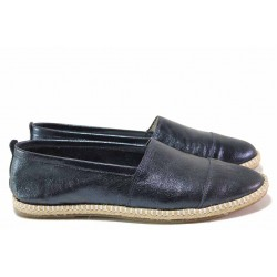 Равни дамски обувки, анатомични, естествена кожа, еспадрили / Ани Zara-01 син / MES.BG