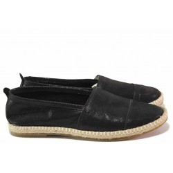 Анатомични дамски обувки, естествена кожа, еспадрили, равни / Ани Zara-01 черен / MES.BG