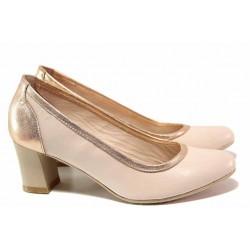 Елегантни дамски обувки, естествена кожа, стабилен среден ток / Ани 31500 розов / MES.BG