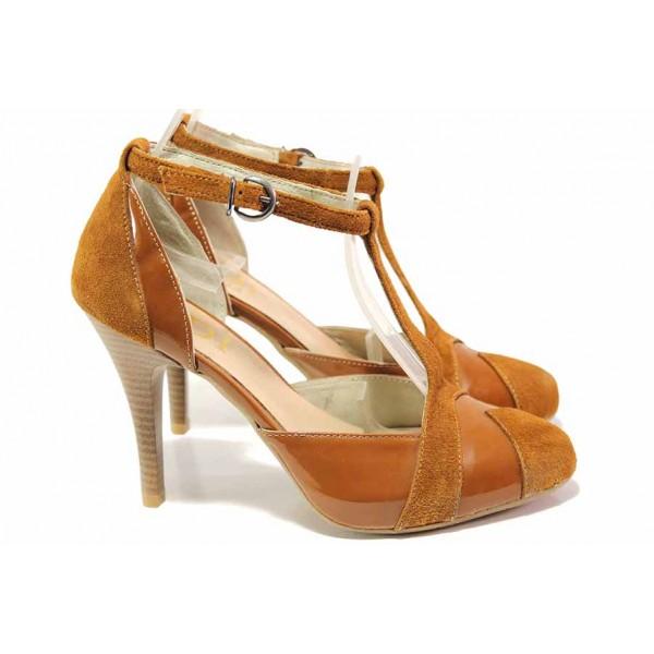 Елегантни обувки на висок ток, естествена кожа и лак, дамски, анатомични / Ани 51931 таба / MES.BG