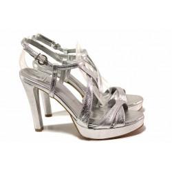 Елегантни сребристи сандали, дамски, висок ток, естествена кожа, анатомични / Ани 72940 сребро / MES.BG
