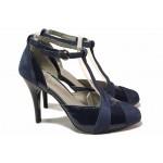 Стилни дамски обувки, абитуриентски, висок ток, естествена кожа с лак, катарама / Ани 51931 син / MES.BG